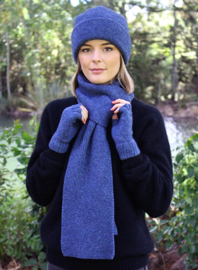 Possum & Merino Royal Blue Fingerless Gloves